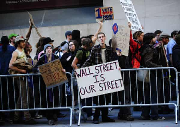 16 September 2011: Hundreds of demonstrators descended on lower Manhattan, staying at least until the open of the New York Stock Exchange.
