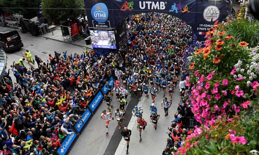Mass start ... 2,300 runners set off from Chamonix in the 170km Ultra-Trail de Mont-Blanc, 1 September, 2017.