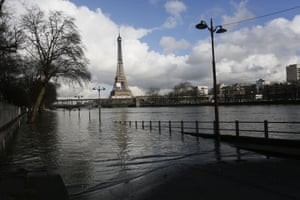 Flooded Seine with Eiffel tower in background