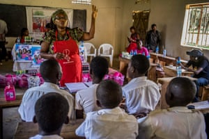 The academic and activist Stella Nyanzi in a school in Masaka, western Uganda, during the first outreach of the Pads for Girls campaign.