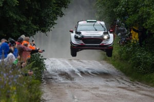 Chmielewo, Poland. Elfyn Evans and his co-driver Daniel Barritt, from the UK, race their Ford Fiesta