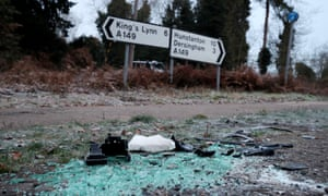 Debris at the scene where Prince Philip was involved in a collision near the Sandringham estate in eastern England