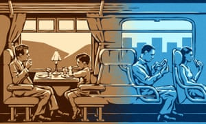 Illustration, of golden age railway carriage morphing into modern train, by Matt Kenyon