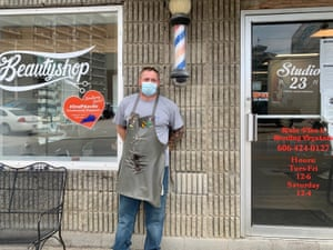 Derek Harris, a barber in Pikeville, whose business is down 20% since re-opening