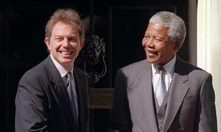 Tony Blair and Nelson Mandela outside No 10 Downing Street on 10 July 1997.