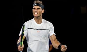 Rafael Nadal looks rather pleased.