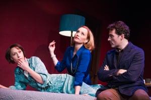Old Times Lia Williams (Kate), Kristin Scott Thomas (Anna) and Rufus Sewell (Deeley). Harold Pinter theatre, London, 2013.