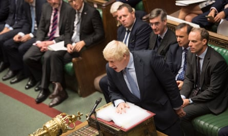 Boris Johnson gesturing at prime minister's questions on 4 September.