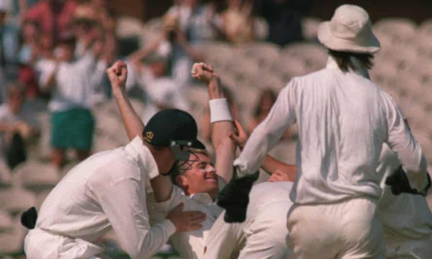 Dominic Cork celebrates his hat-trick wicket against West Indies in 1995.