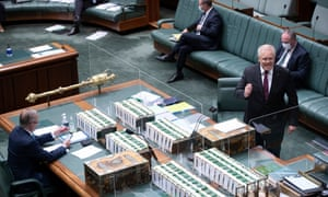 Scott Morrison during a pared-back question time on Tuesday.