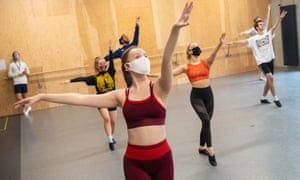 Students observe social distancing as they take part in a dance session as classes resume at Mountview Academy of Theatre Arts drama school in Peckham, south London.