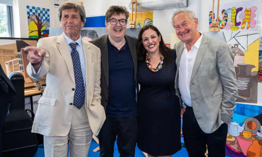 Andria Zafirakou with, from left, Melvyn Bragg, Mark Wallinger and Simon Schama.