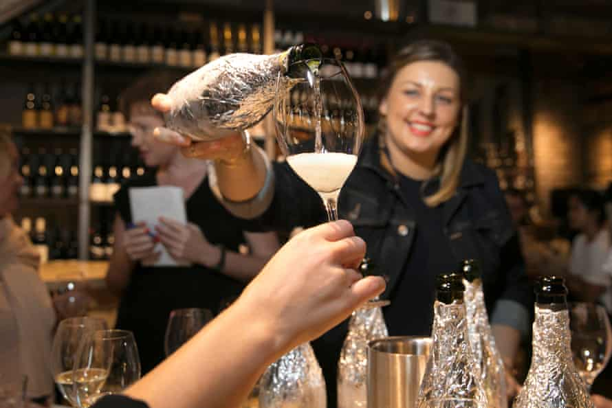 Sommelier Samantha Payne of Nomad Restaurant and Wine Store guides Guardian staff through a blind tasting of six sparkling wines.