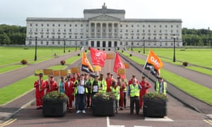 Harland and Wolff employees protesting at Stormont.