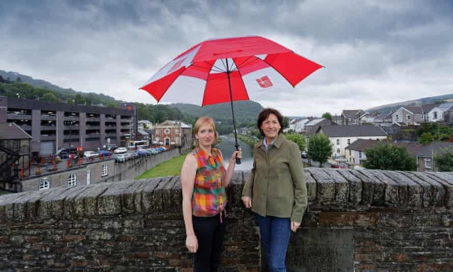 Morwenna Lewis and Lynda Davies on the old footbridge in Pontypridd.