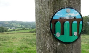 A marker for the Heart of Wales line trail