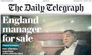 The Daily Telegraph's David Allardyce front page.