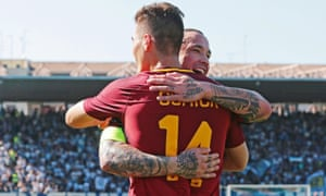 Roma's Patrick Schick (front) celebrates with his team-mate Radja Nainggolan