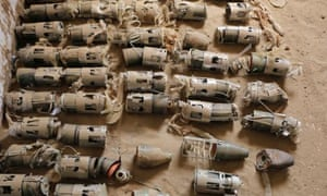Some of the UK-manufactured cluster bomblets gathered in northern Yemen