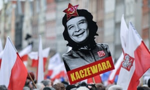 Protests against PiS, Poland - 19 Dec 2015<br>Mandatory Credit: Photo by East News/REX/Shutterstock (5499295a) A sign held during protest depicting Jaroslaw Kaczynski as a communist leader Protests against PiS, Poland - 19 Dec 2015 Thousands participate in protests across many Polish main cities organised by KOD (Committee for the Defense of Democracy) against PiS (Law and Justice), ruling party in Poland