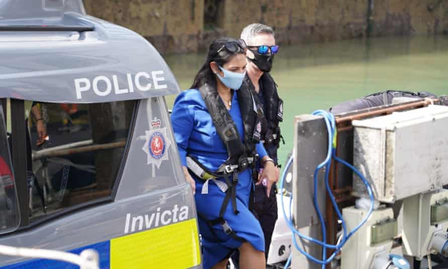 Priti Patel examining measures to deter small boats crossing the Channel, Dover, August 2020