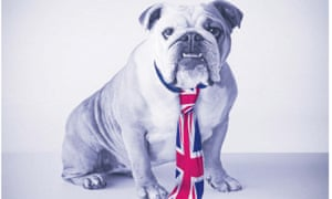 A bulldog wearing a union flag tie from the advertisements funded by Peter Harris.