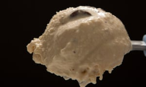 A scoop of muddy brown ice-cream