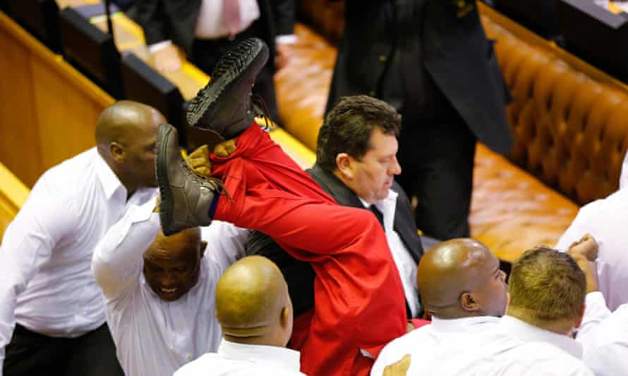 South African parliament fight.