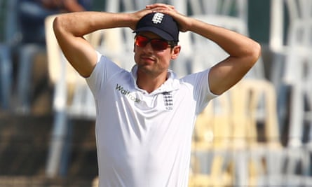 England's captain Alastair Cook looks deflated during his side's record-equalling eighth Test defeat of the year.
