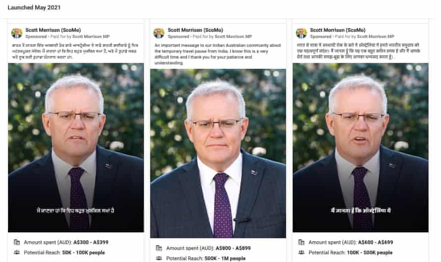Ads being run by Scott Morrison's Facebook page targeting the Indian community in Australia