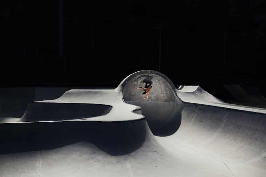 Olympic skateboard qualifier Tyler Edtmayer of Germany makes a run around the cradle skatepark in Brixlegg on 14 August.