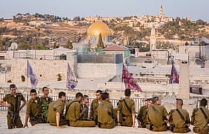 Members of the Israeli Defense Forces on the Galizia Roofs in Jerusalem's Old City