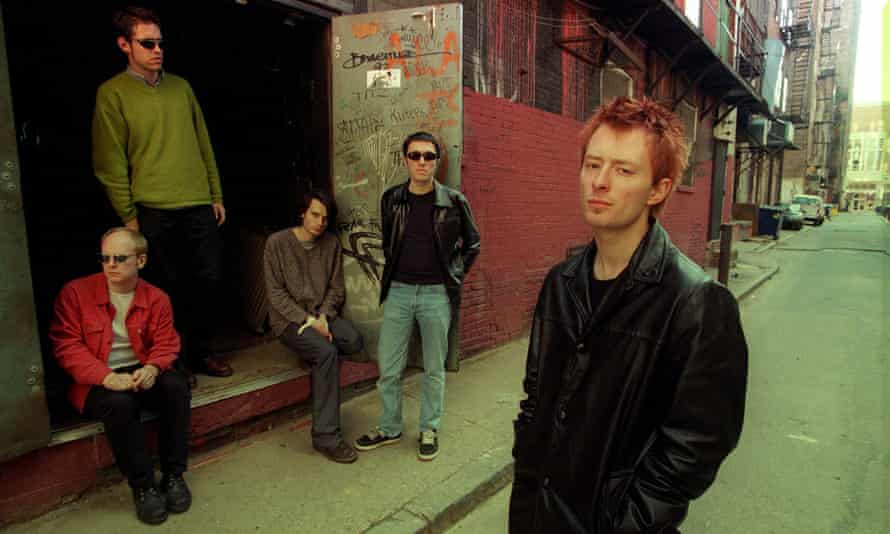 Radiohead circa 1996, with Colin Greenwood second right.