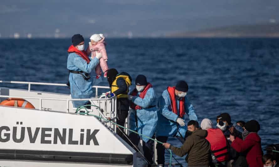 Migrant rescue patrol in the Aegean Sea by the Turkish coastguard