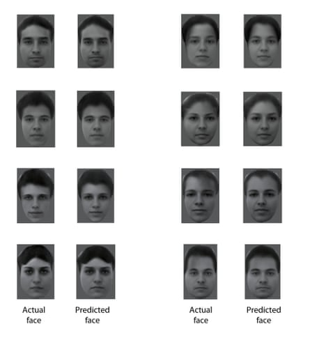 This figure shows eight different real faces that were presented to a monkey, together with reconstructions made by analysing electrical activity from 205 neurons recorded while the monkey was viewing the faces.