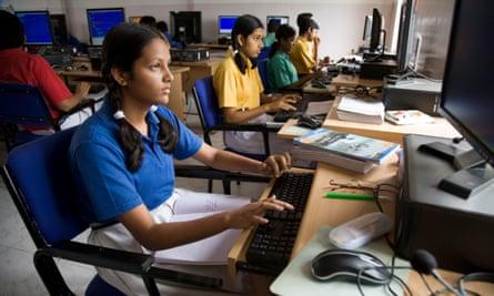 School students in Hazira, near Surat, in Gujarat.