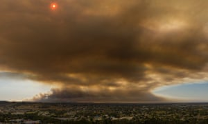A drone image of the view looking east from Pakenham in Victoria towards the bushfires on Saturday.