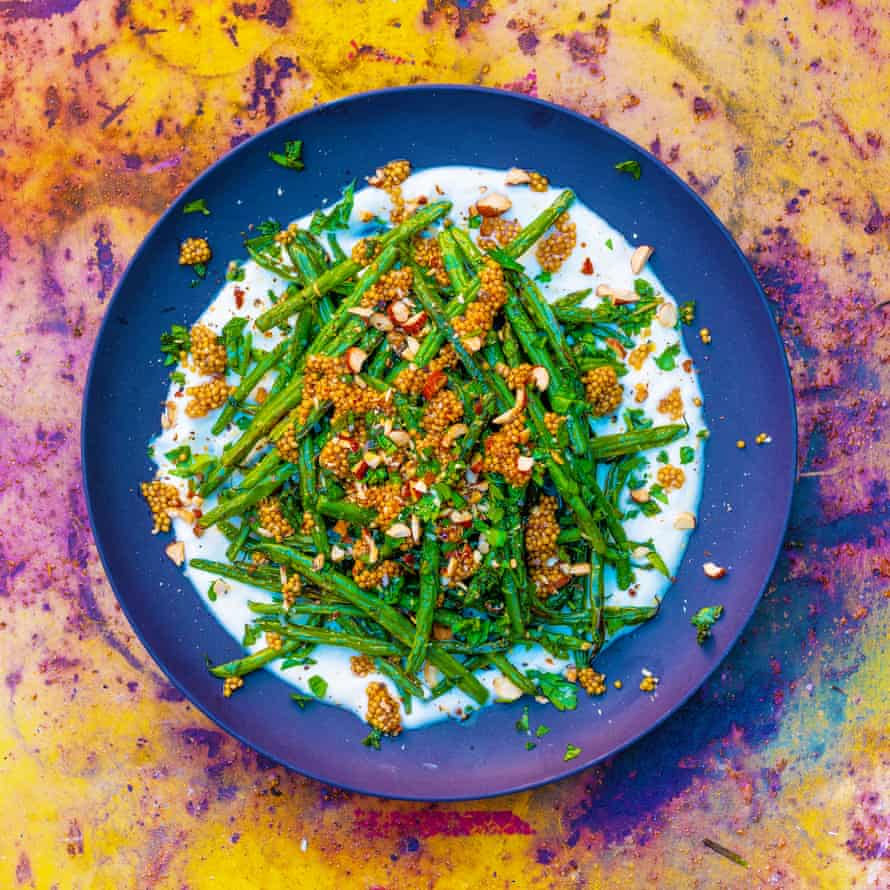 Charred green beans, pickled mustard seeds, yogurt and smoked almonds.