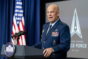 Chief of Space Operations at US Space Force Gen. John Raymond speaks at a ceremony to commemorate the first birthday of the. Space Force at the White House in December 2020.