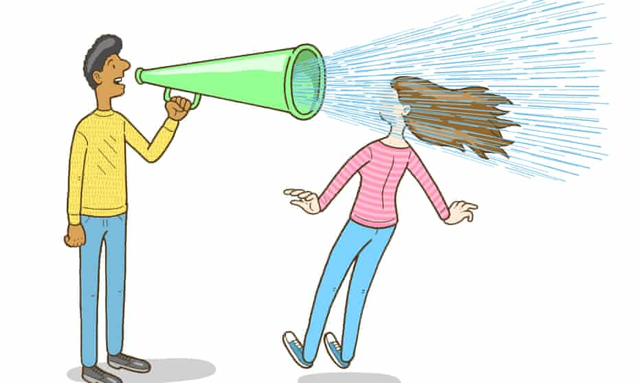 An illustration of a woman falling back as she is blasted by the sound of a man talking through a megaphone