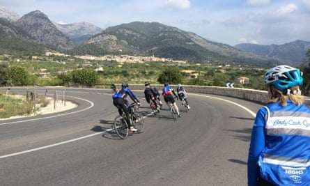 Jacqui Cook watches riders take a corner. The Mallorca cycling camp takes riders all over the island.