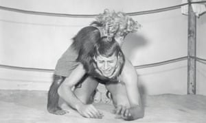 Lewis clowns around with Gorgeous Pierre, wrestling chimp and movie actor, on 20 February 1950. The pair became friends while working together in the film, My Friend Irma Goes West