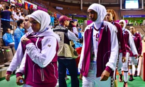 At the Asian Games in 2014, the Qatar women's basketball team refused to play in their game against Mongolia after being refused permission to wear the hijab.