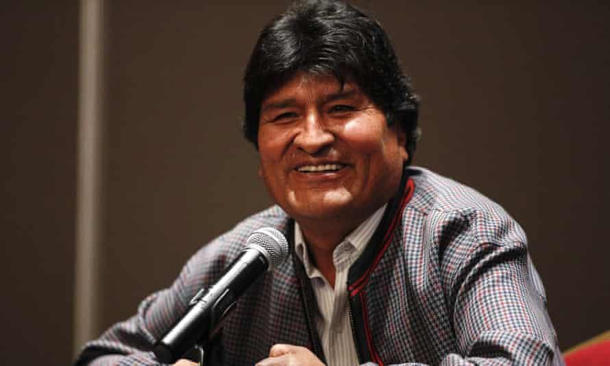 Evo Morales in Mexico City, Mexico, on 20 November.