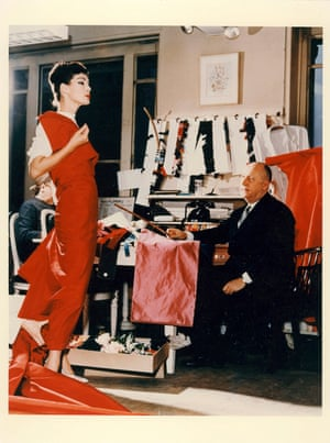 Christian Dior and fashion model Lucky c. 1956