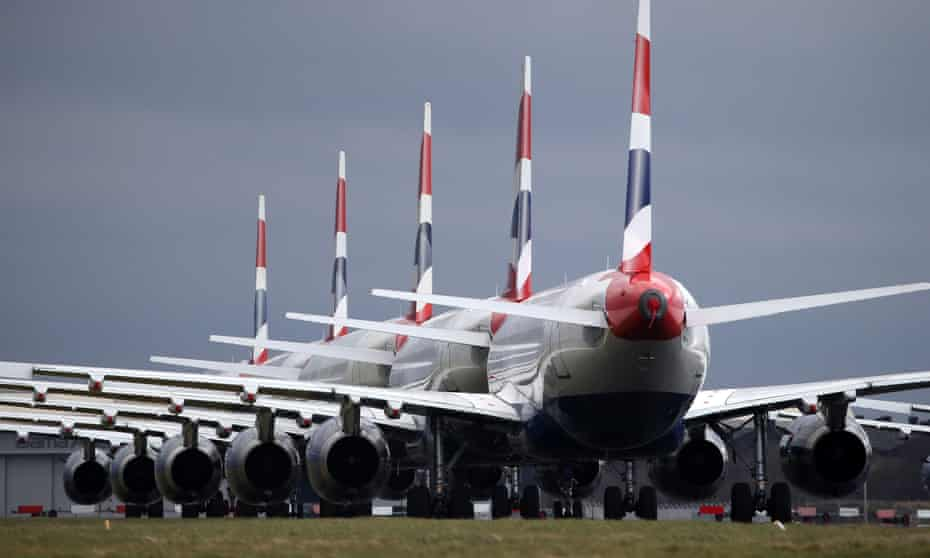 BA planes lined up on the tarmac