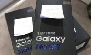 Samsung Galaxy Note 7 smartphones in Seoul, South Korea.