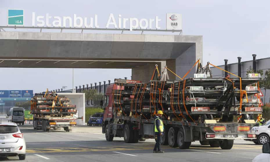 Trucks carrying equipment from Atatürk international airport arrive at the new Istanbul airport, set to be the busiest in the world.