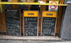 Menus at Bar Restaurant Cervantes.