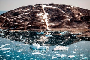 Icebergs float along the eastern coast of Greenland near Kulusuk